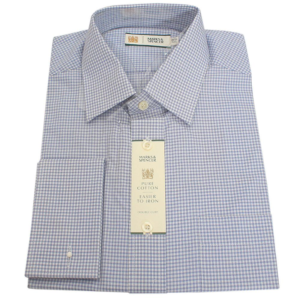 M&S Collection Blue White Check Cotton L/Sleeve Men Shirt