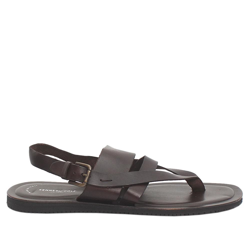 Kenneth Cole Coffee Exotic Leather Men Pam Sandals