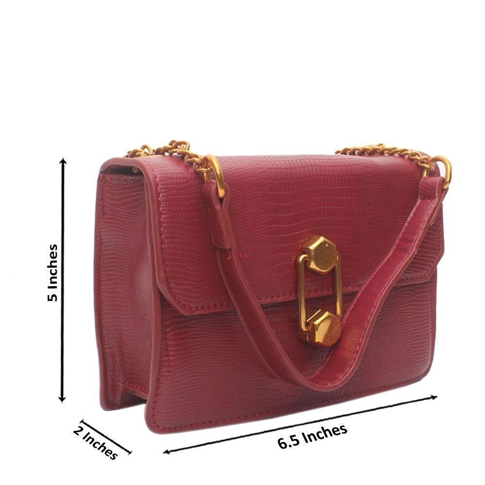 Red Croc Leather Crossbody Handbag