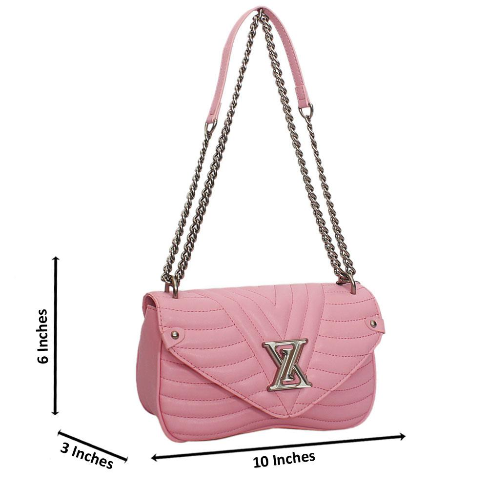 Pink  New Wave MM Chain Tuscany Leather Crossbody Handbag