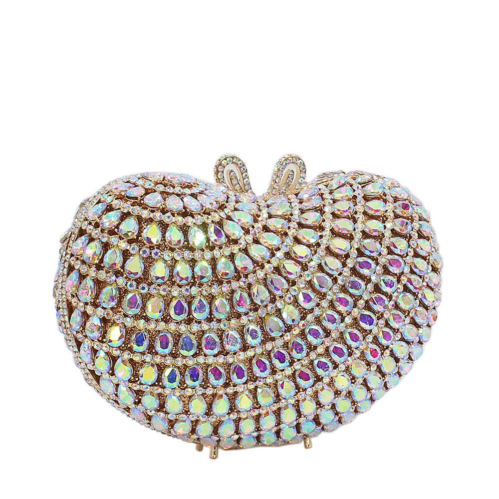 Glassy Gold Mix Wet Petals Diamante Crystals Clutch Purse