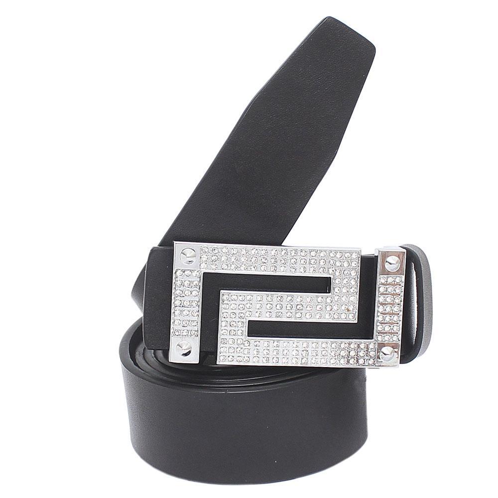 Silver Black Premium Leather Men Belt L 46 Inches