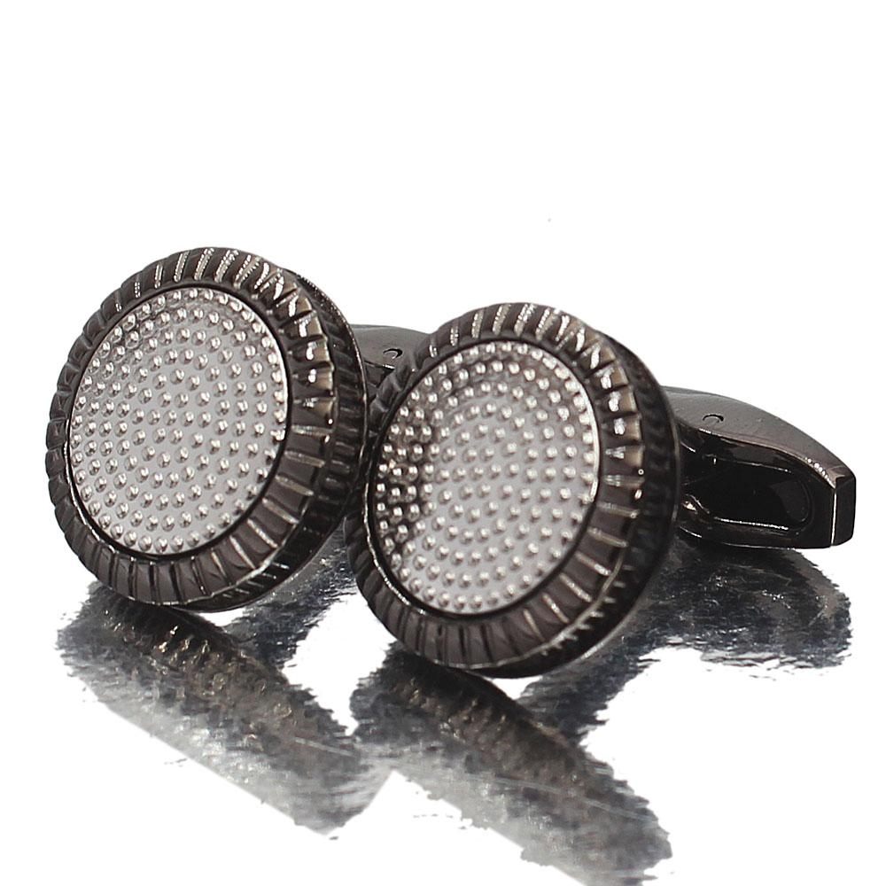 Oxford Black Silver Stainless Steel Cufflinks