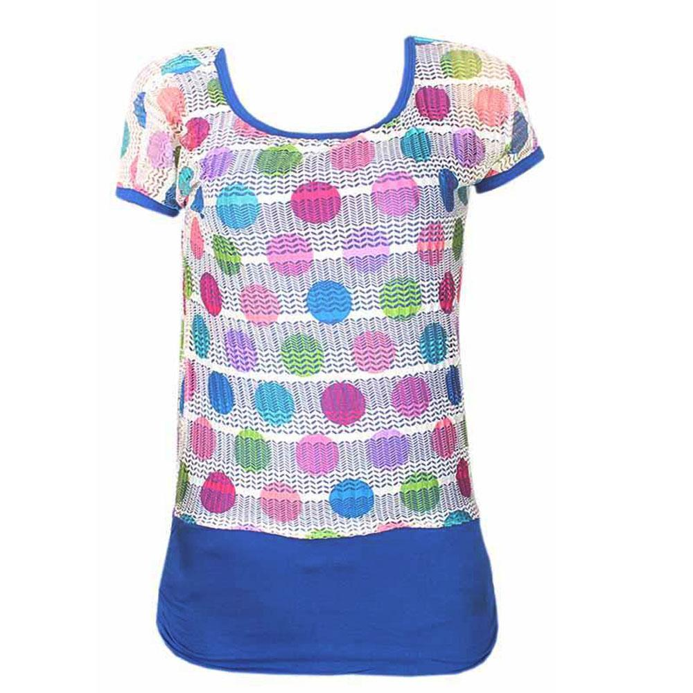 Fashion Blue Mixed S/Sleeve Ladies Chiffon Top