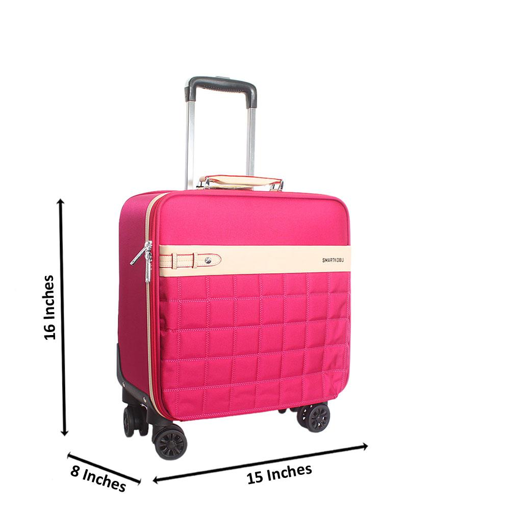 Pink 16 Inch Fabric Kobu 4 Wheels Spinners Pilot Suitcase