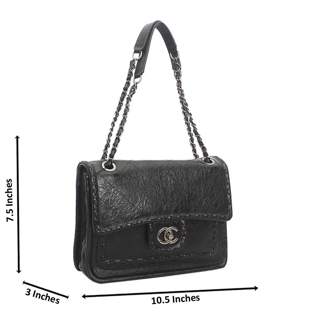 Black Etched Cowhide Leather Chain Shoulder Handbag