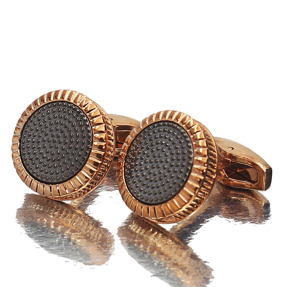 Oxford Rose Gold Black Stainless Steel Cufflinks