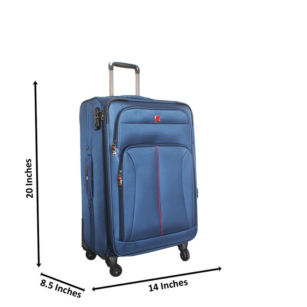 Saint Blue 20 Inch Fabric 4 Wheels Spinners Carry On Luggage