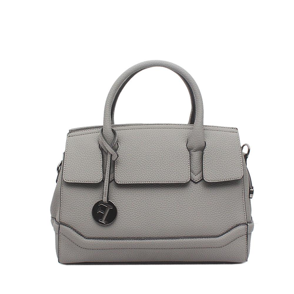 London Style Grey Leather Tote Bag