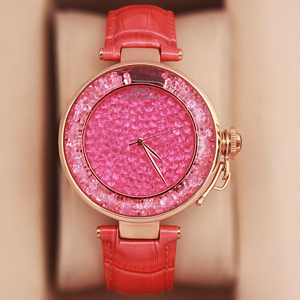 Crystal Ice Peach Leather Classic Ladies Watch