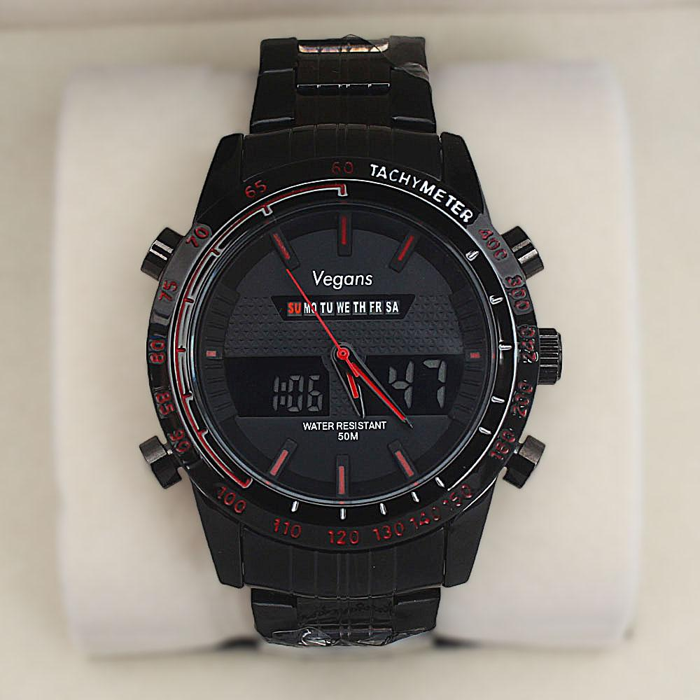 Vegans Black Stainless Steel 50M Red-Dial Analog-Digital Watch