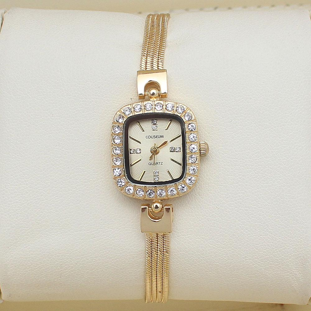 Coliseum Breve Gold Studded Ladies Fashion Watch-