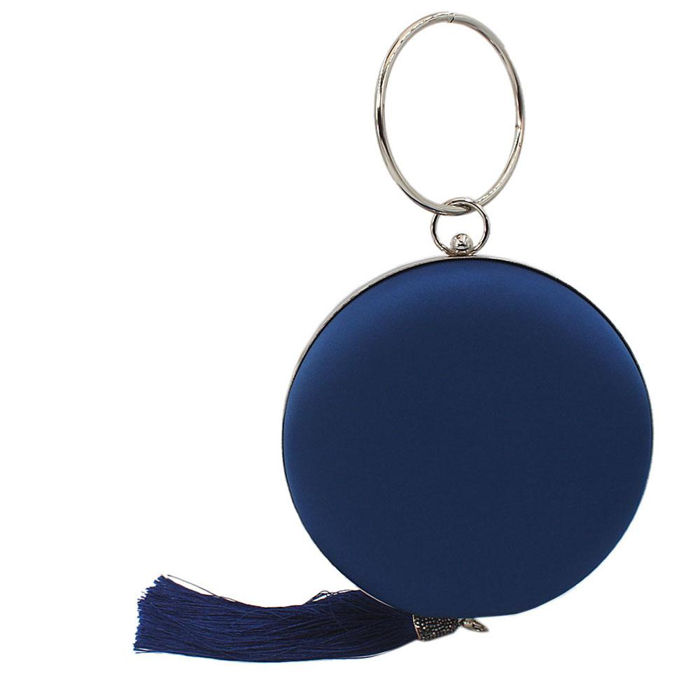 Blue Satin Wrist Handle Round Clutch Purse