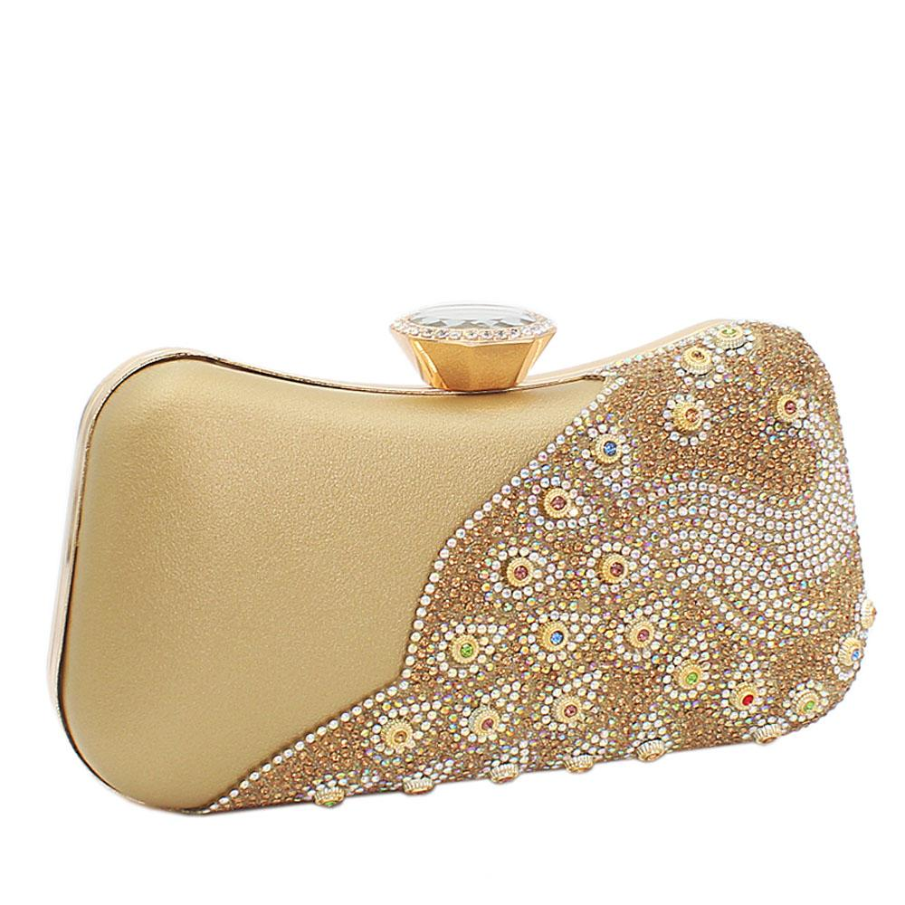 Gold Ariel Evoke Studded Leather Clutch Purse