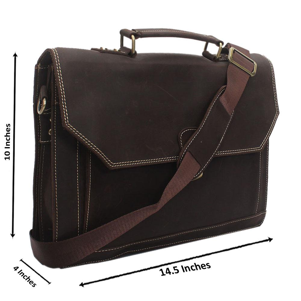 Dark Brown Kaza Leather Messenger Bag