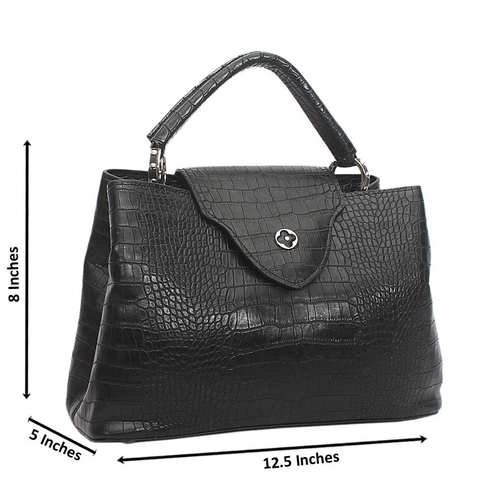 Black Croc Cowhide Leather Top Handle Handbag