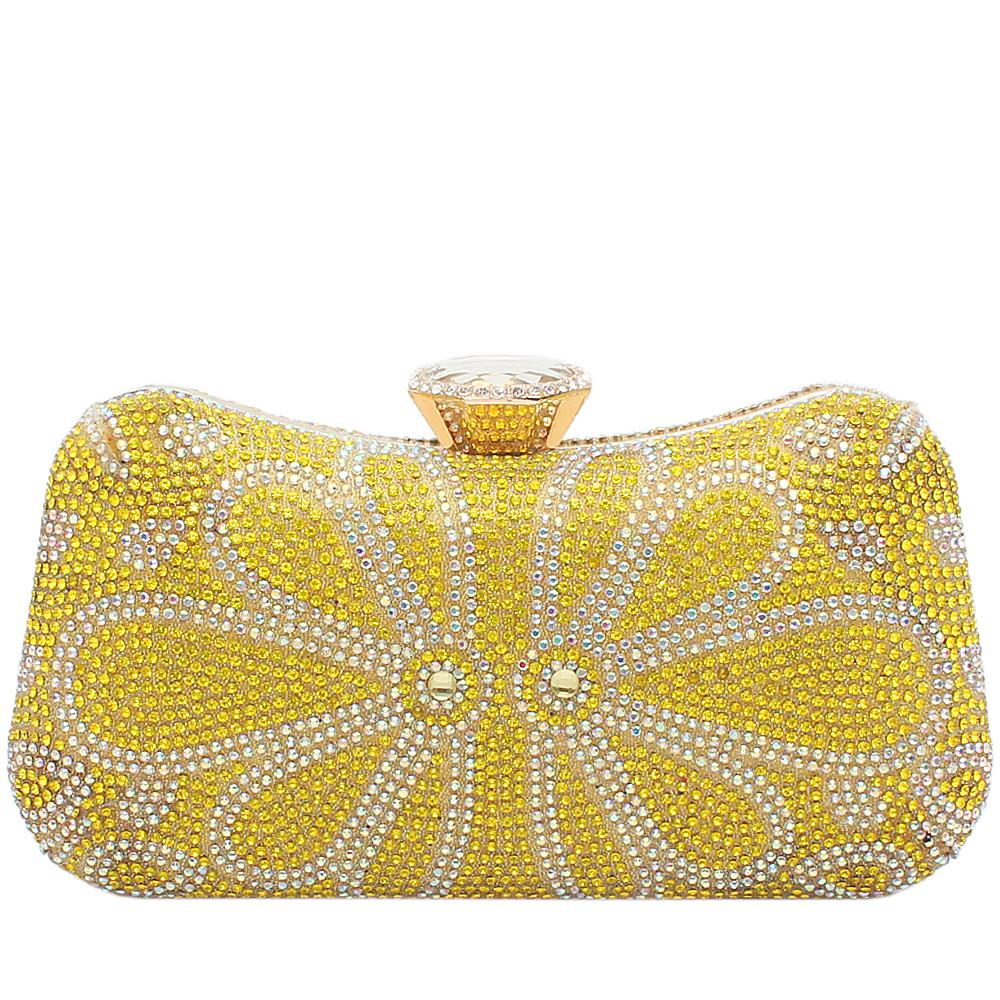 Yellow Glitz Studded Premium Hard Clutch