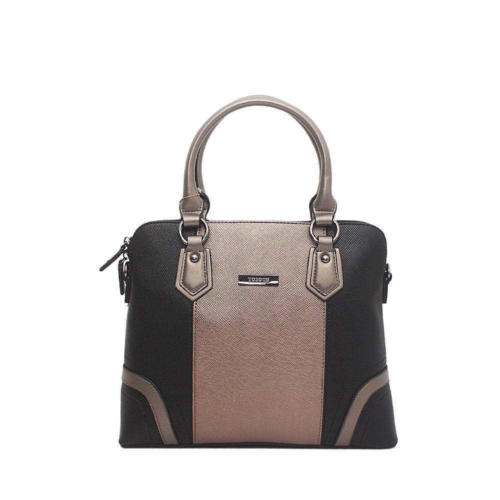 Tosoco Morgana Black Metallic Gold Brown Leather Handbag