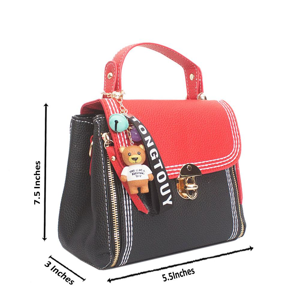 Black Red Leather Tongtouy Charm Mini Handle Bag