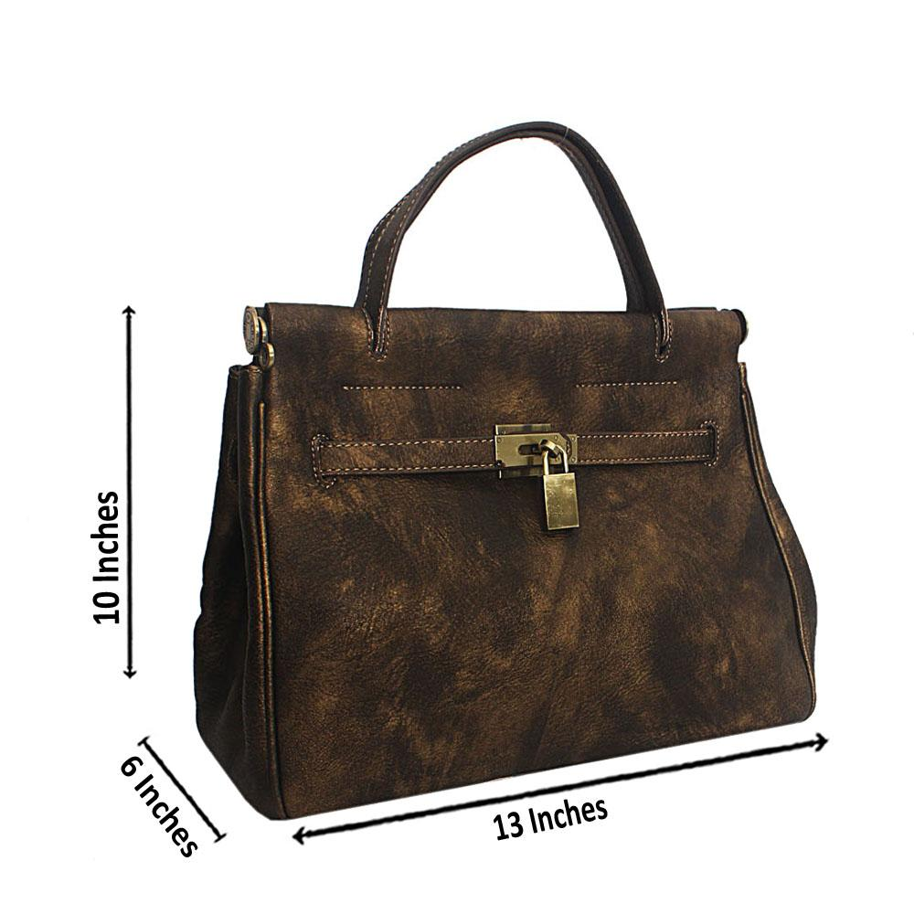 Metallic Bronze Scroll Leather HandBag