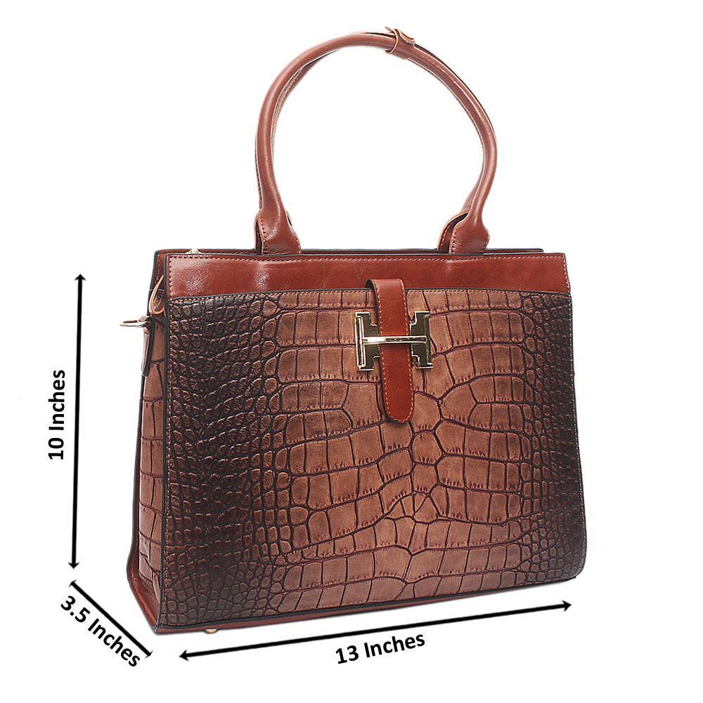 Brown Medium Perry Croc Leather Handbag