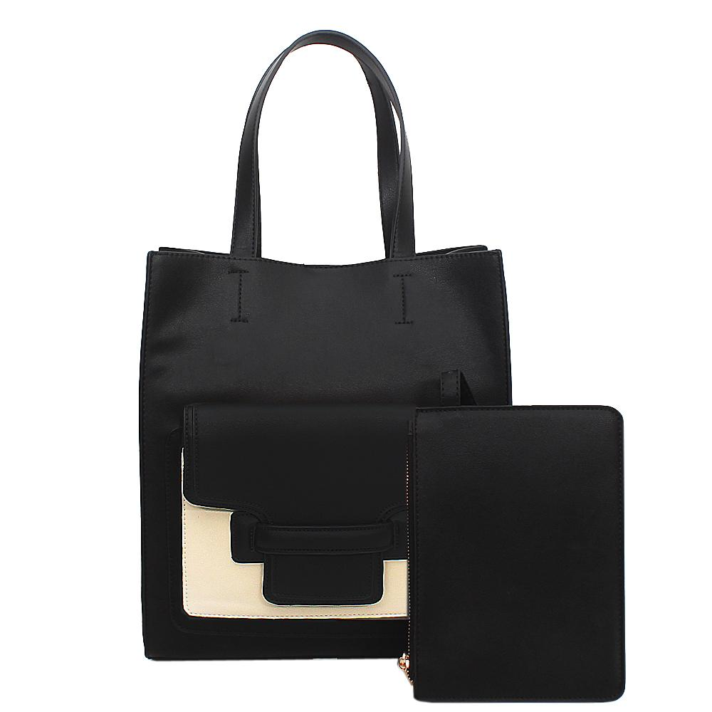 Black White Leather Handbag