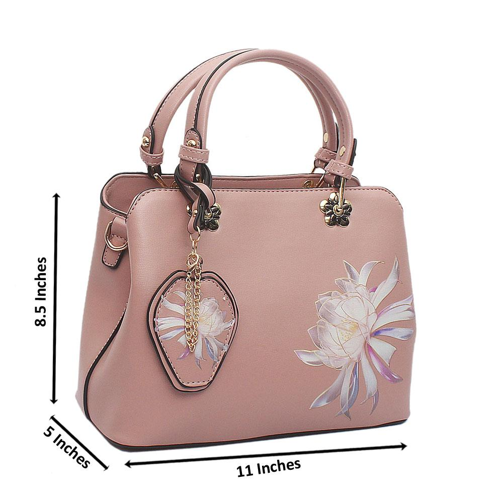 Peach Flower Small Leather Handbag