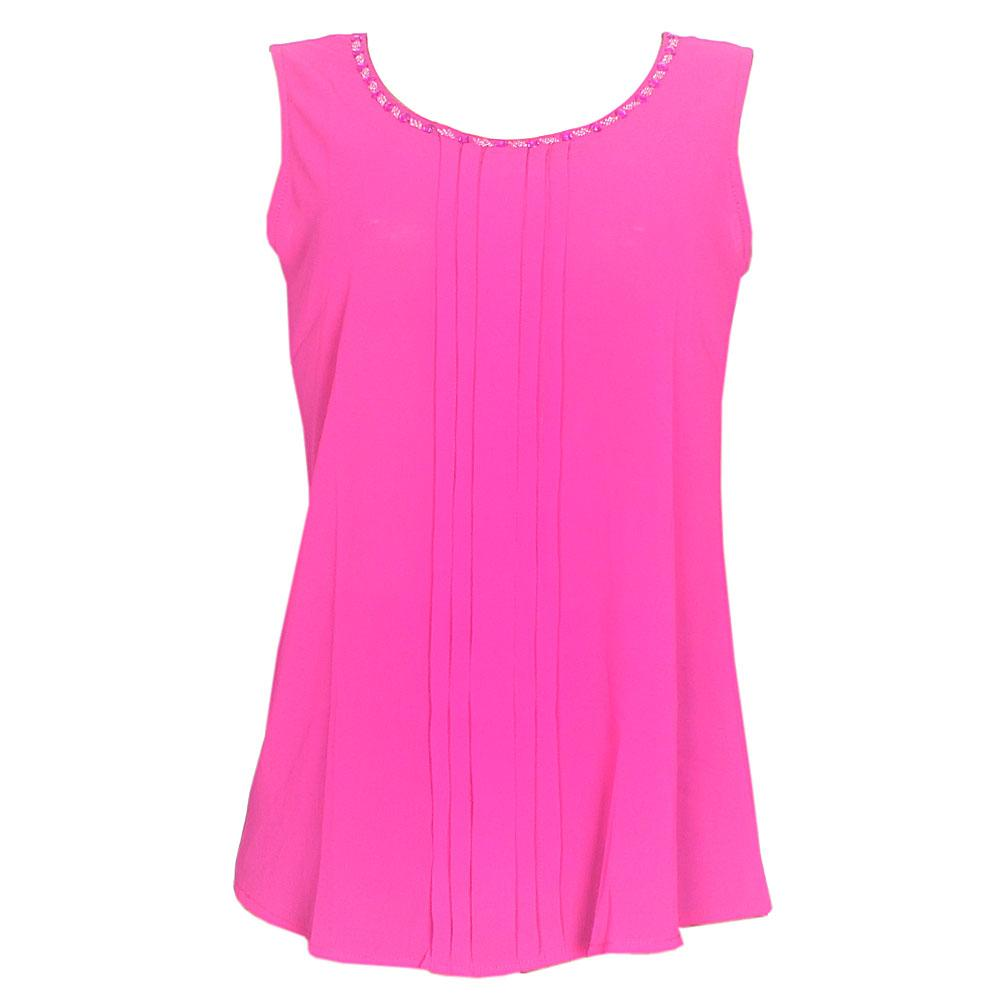 Pink Chiffon Sleeveless Ladies Top