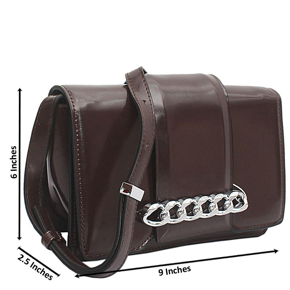 Coffee Leather Infinity Chain Shoulder Bag