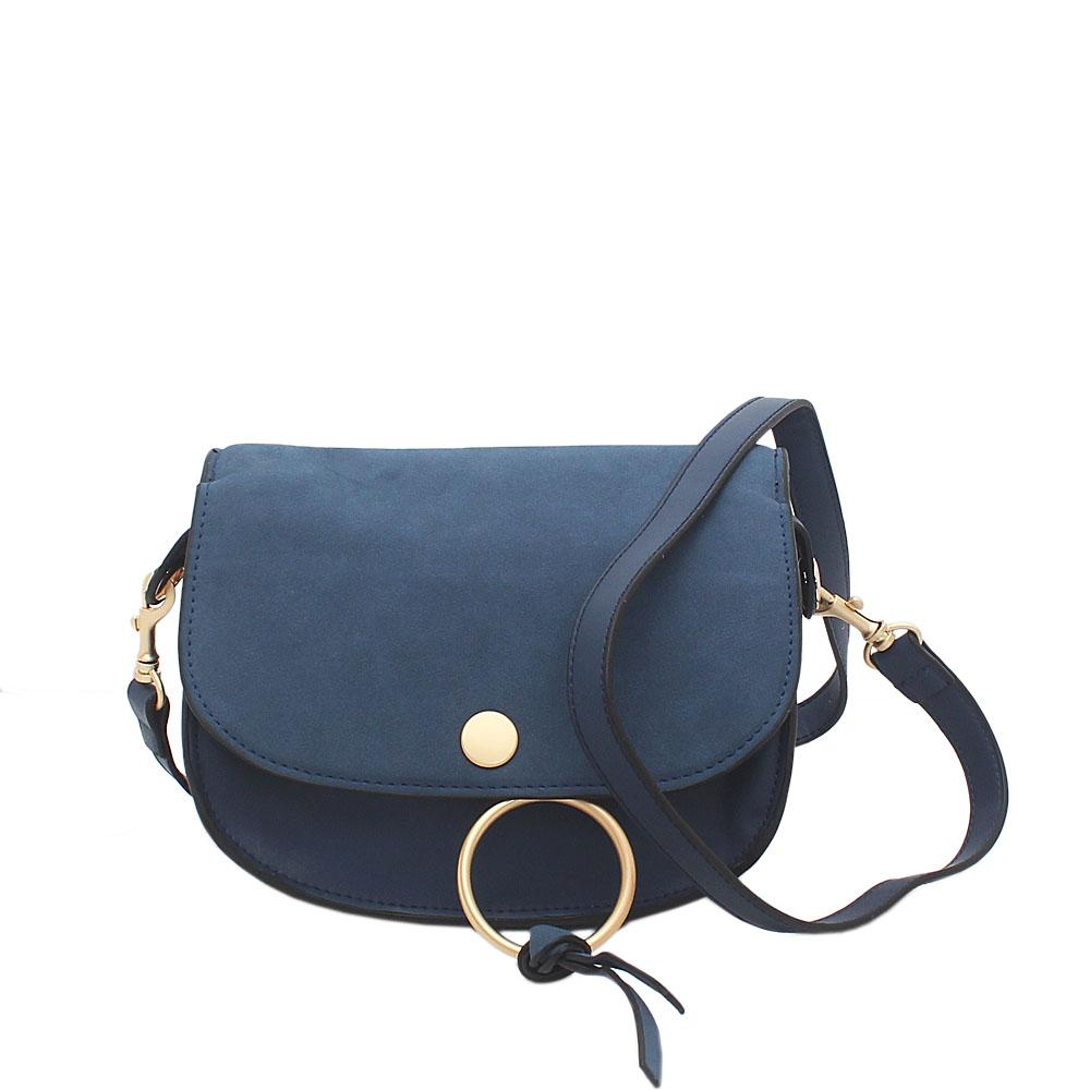London Style Blue Leather Mini Cross body Bag