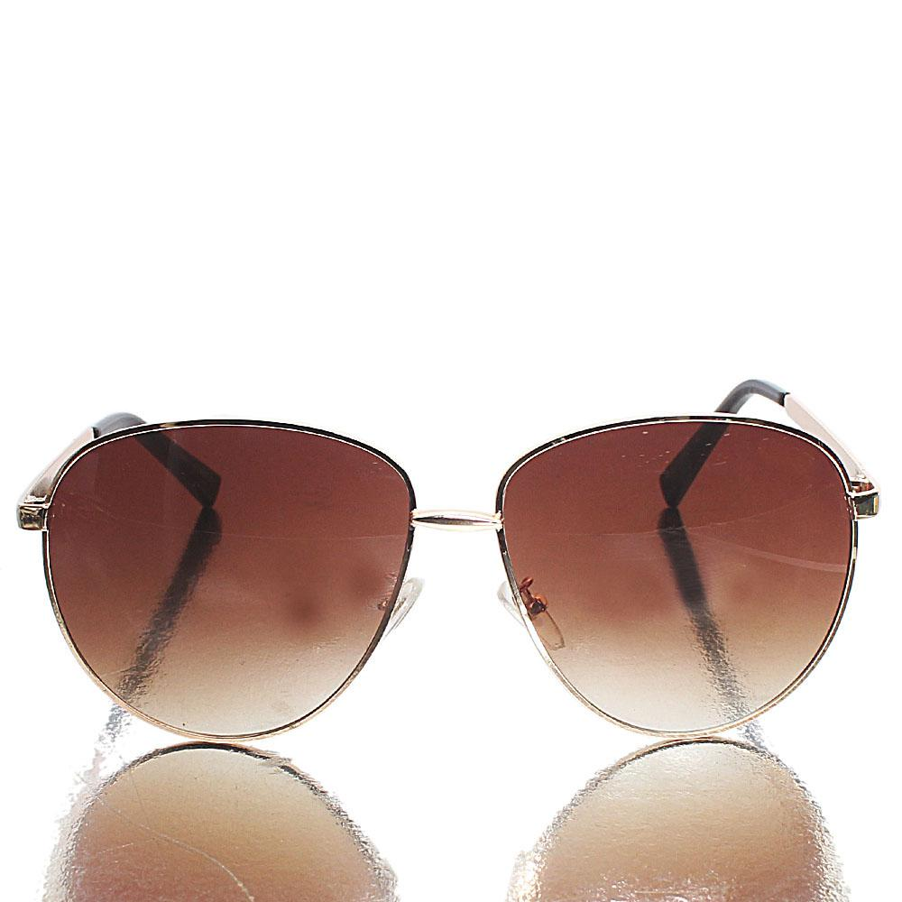 Gold Black Brown Lens Aviator Sunglasses