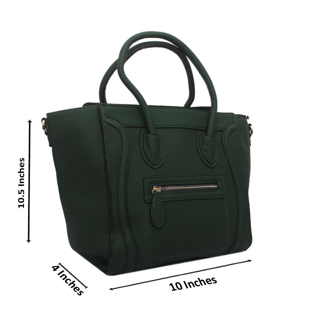 Green Leather Medium Luggage Handbag