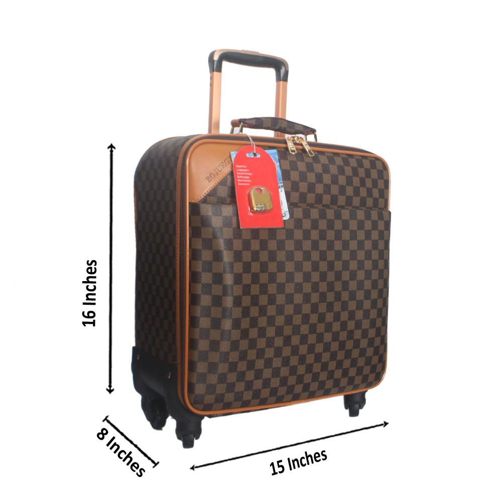 Brown Check Leather Pilot Suitcase Wt Lock