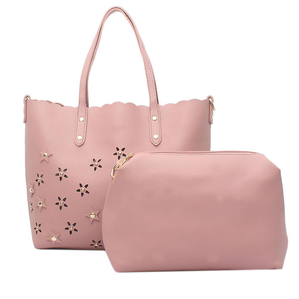 Pink Leather  Shoulder  Bag Wt Purse