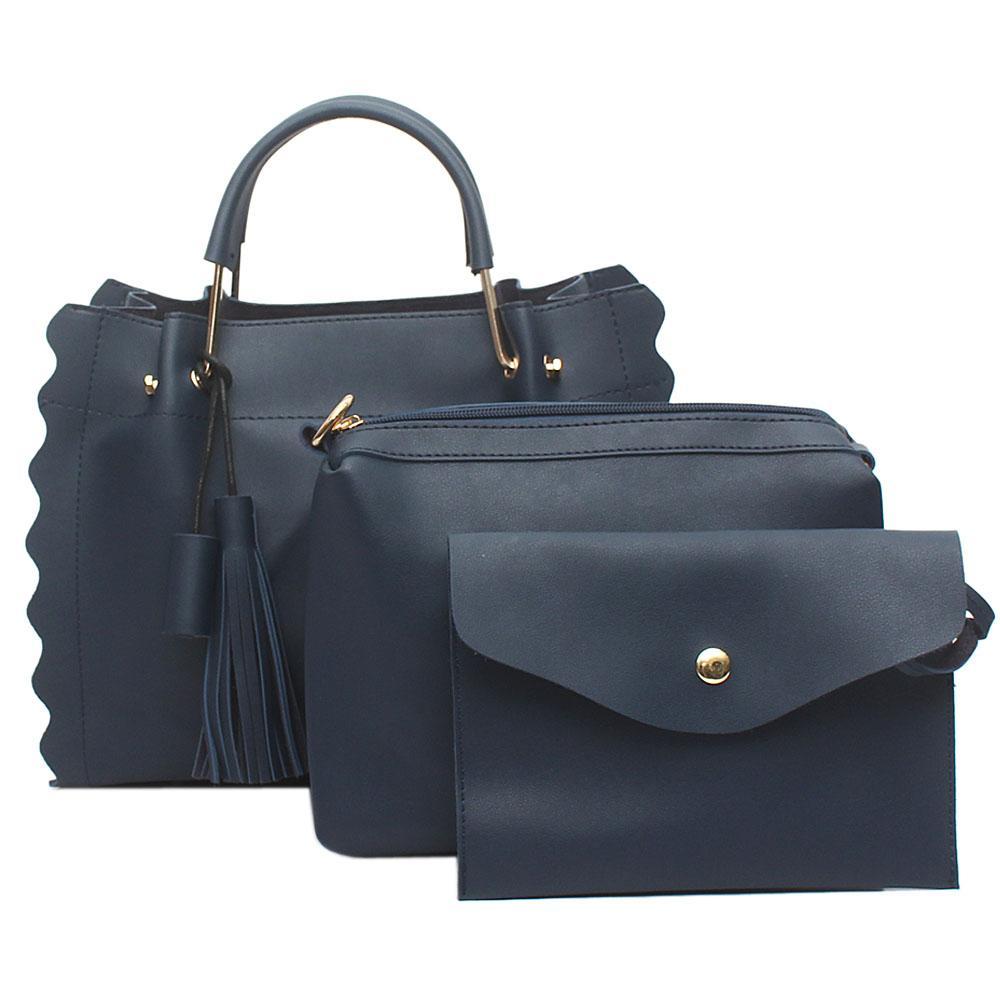London Style Navy Leather 3 in 1 Handbag