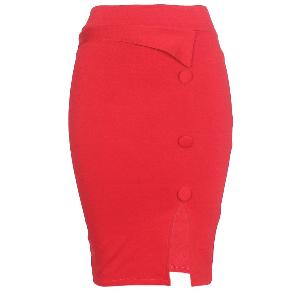 Red Cotton Stretch Skirt