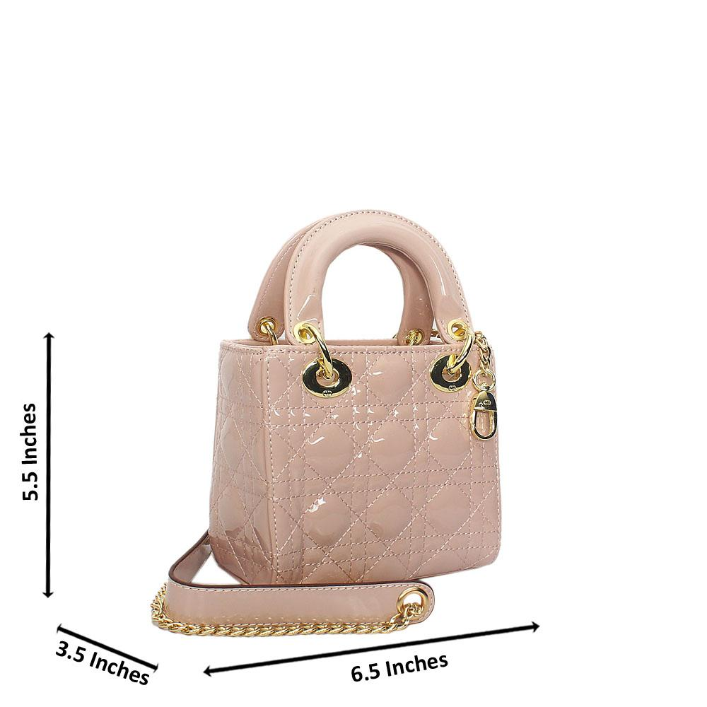 Light Pink Floxy Patent Leather Mini Tote Handbag