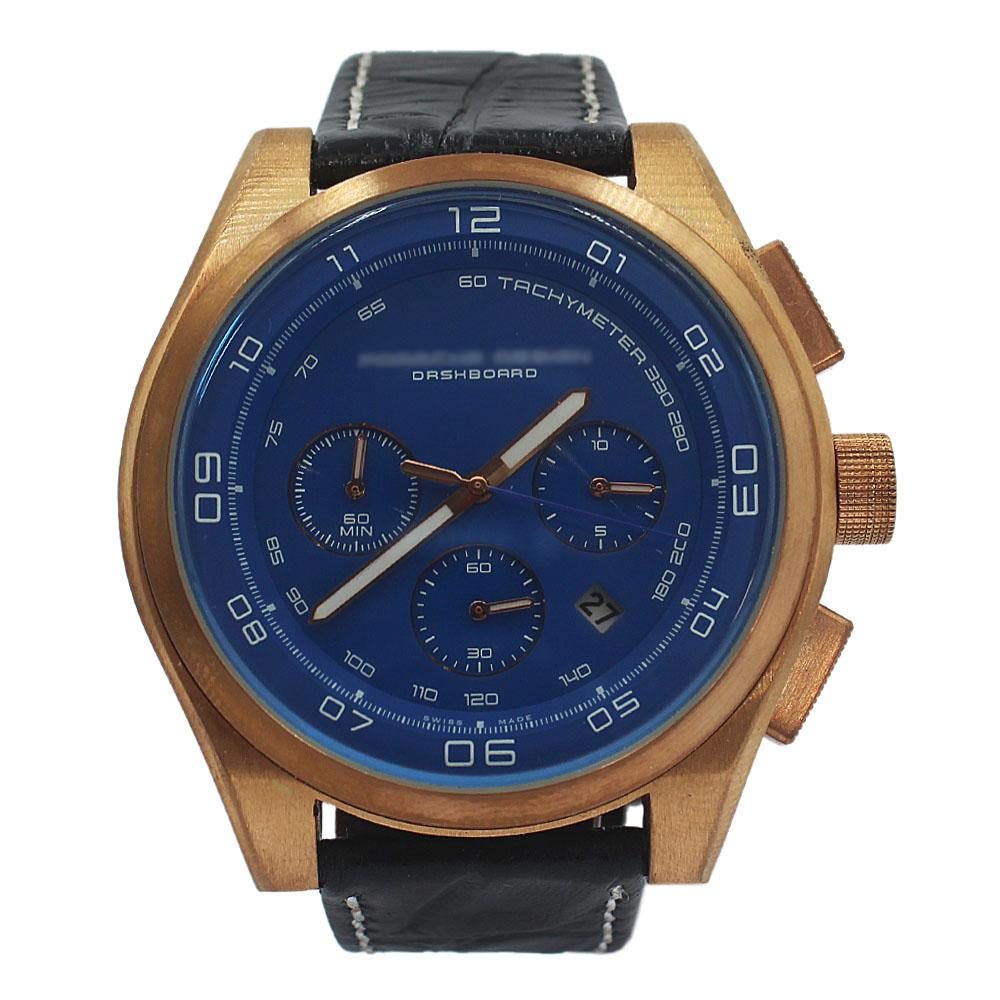 Rose Gold Black Blue Face Leather Chronograph Watch