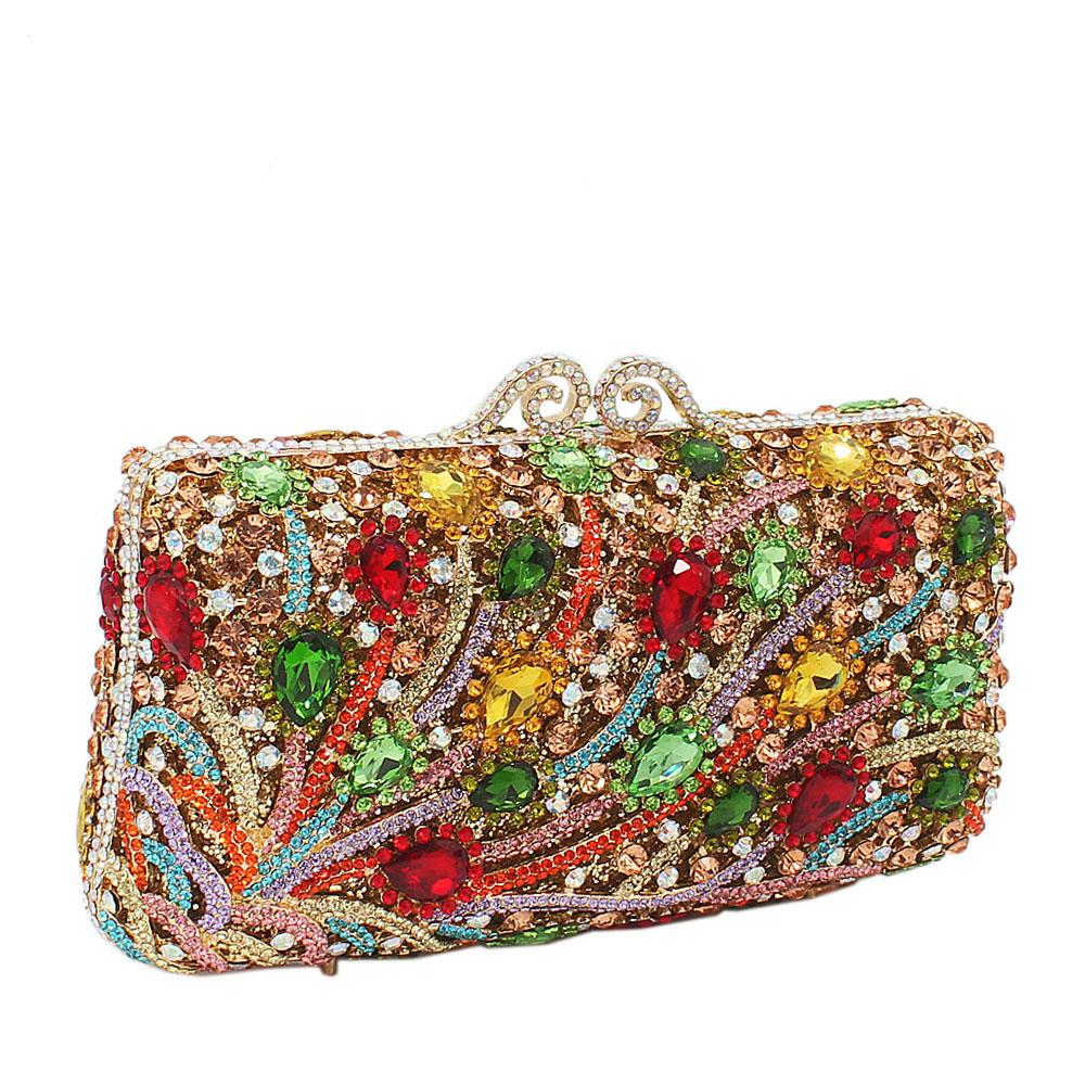 Multicolored Tear Drop Studded Diamante Crystals Clutch Purse