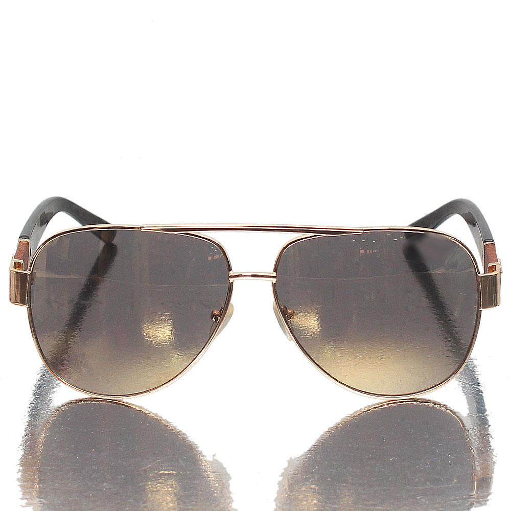 Gold Black Aviator Gold Polarized Lens Sunglasses