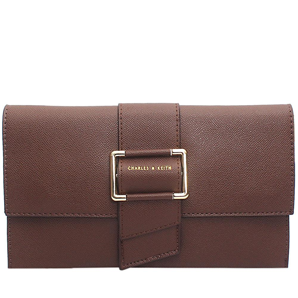 Coffee Brown Leather Flat Purse