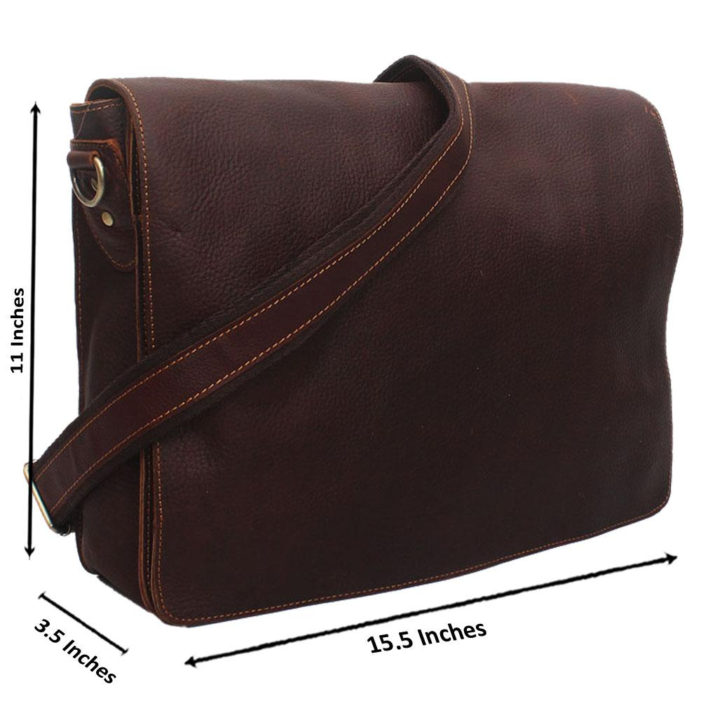 Wine Zipper Leather Messenger Bag