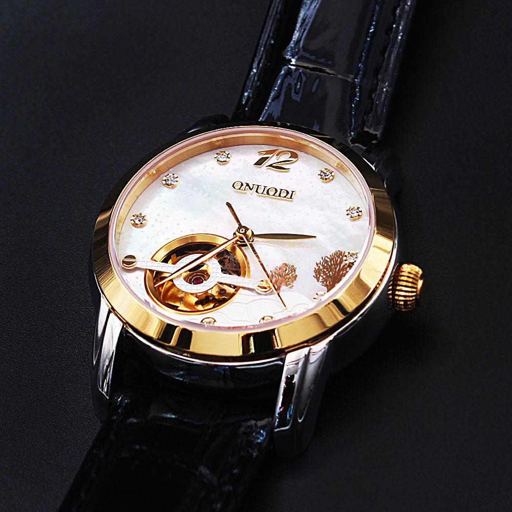 Diane Garden Black Leather Automatic Ladies Watch