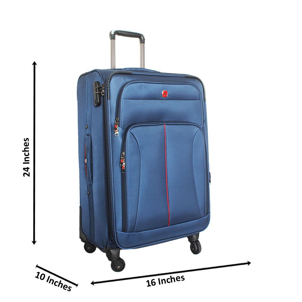 Saint Blue 24 Inch Fabric 4 Wheels Spinners Medium Suitcase