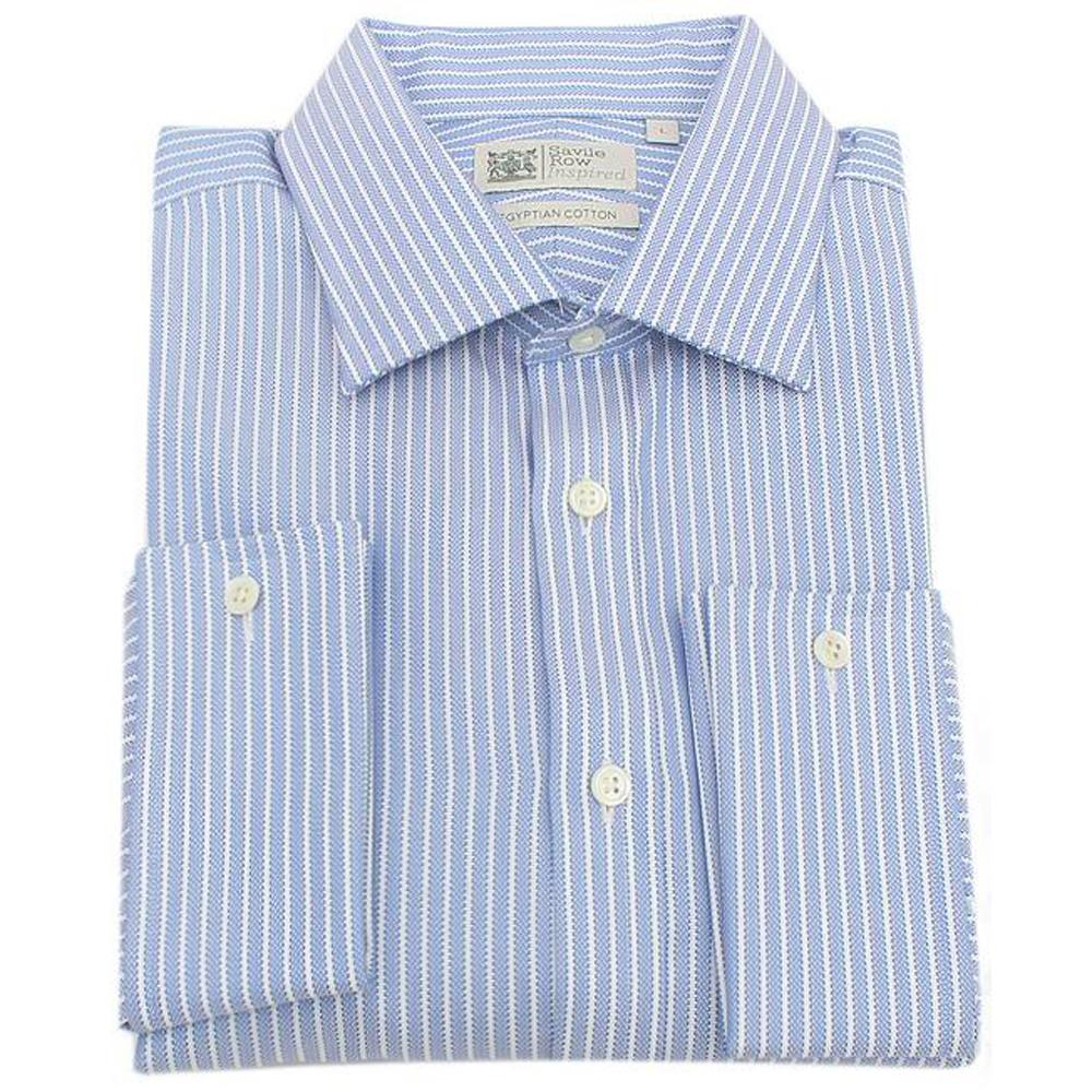 Savile Row Blue White Striped Egyptian Cotton L/Sleeve Men Cuff Shirt