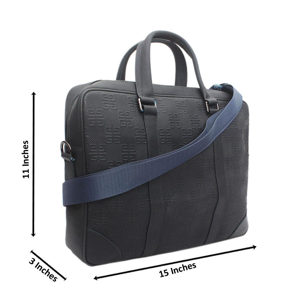 Navy Calfskin Leather Messenger Bag
