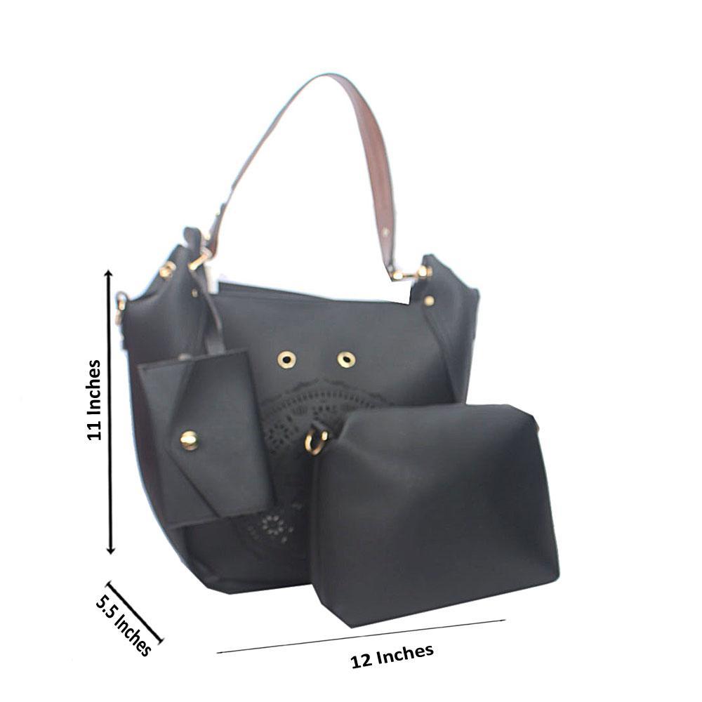 Black Brown Rose Ice Tandy Leather Shoulder Handbag