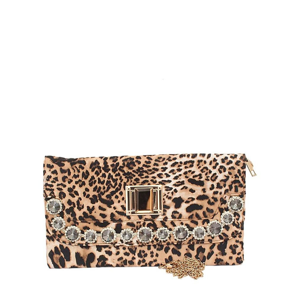 Fashion Animal Skin Studded Clutch Purse
