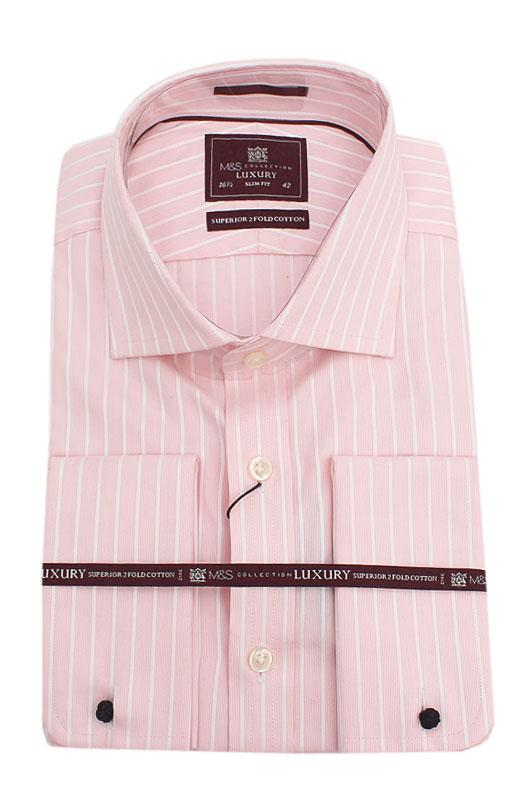M & S Collection Pink White  L/Sleeve Men Shirt Wt Cuffs