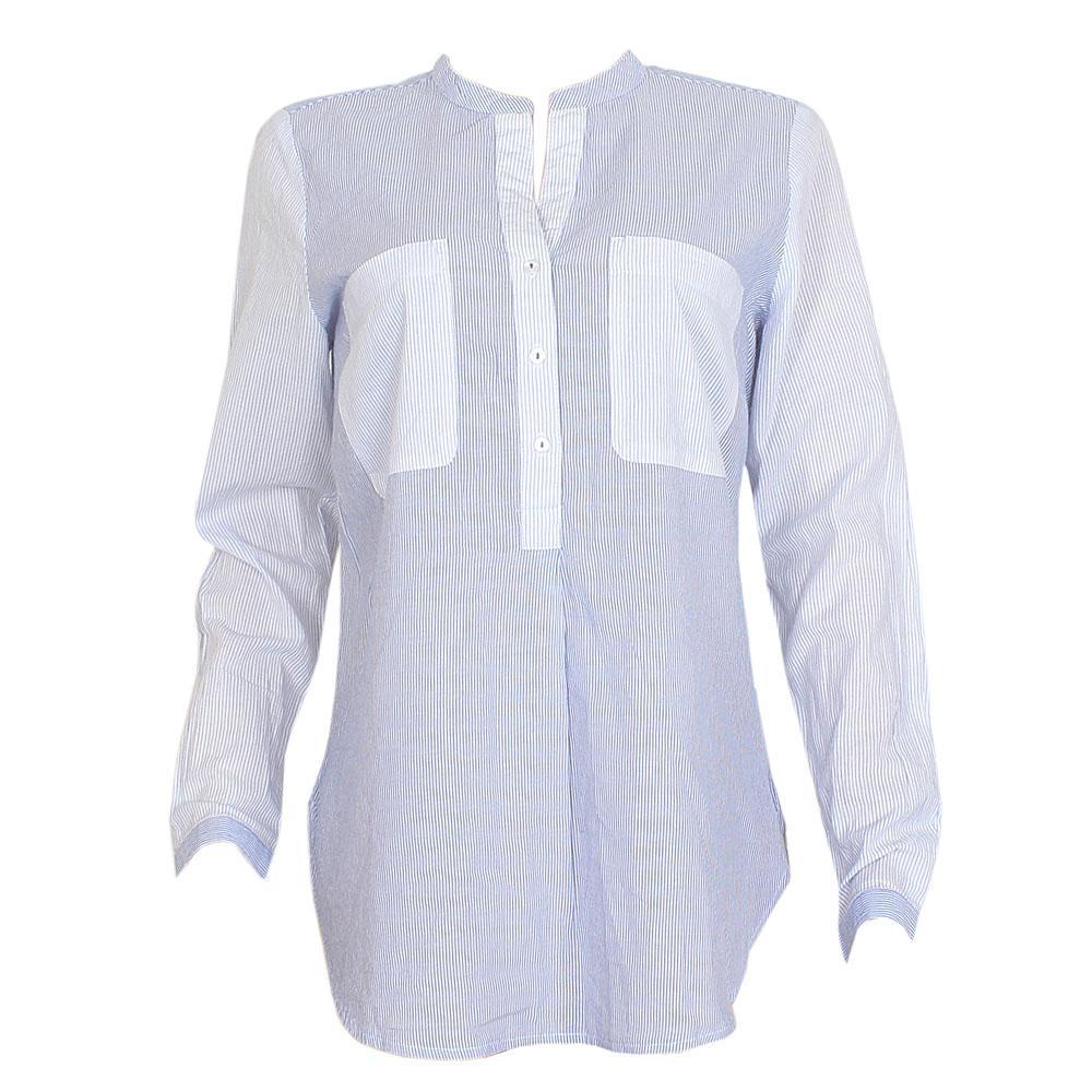 M & S Blue White Striped Cotton L/Sleeve Ladies Shirt